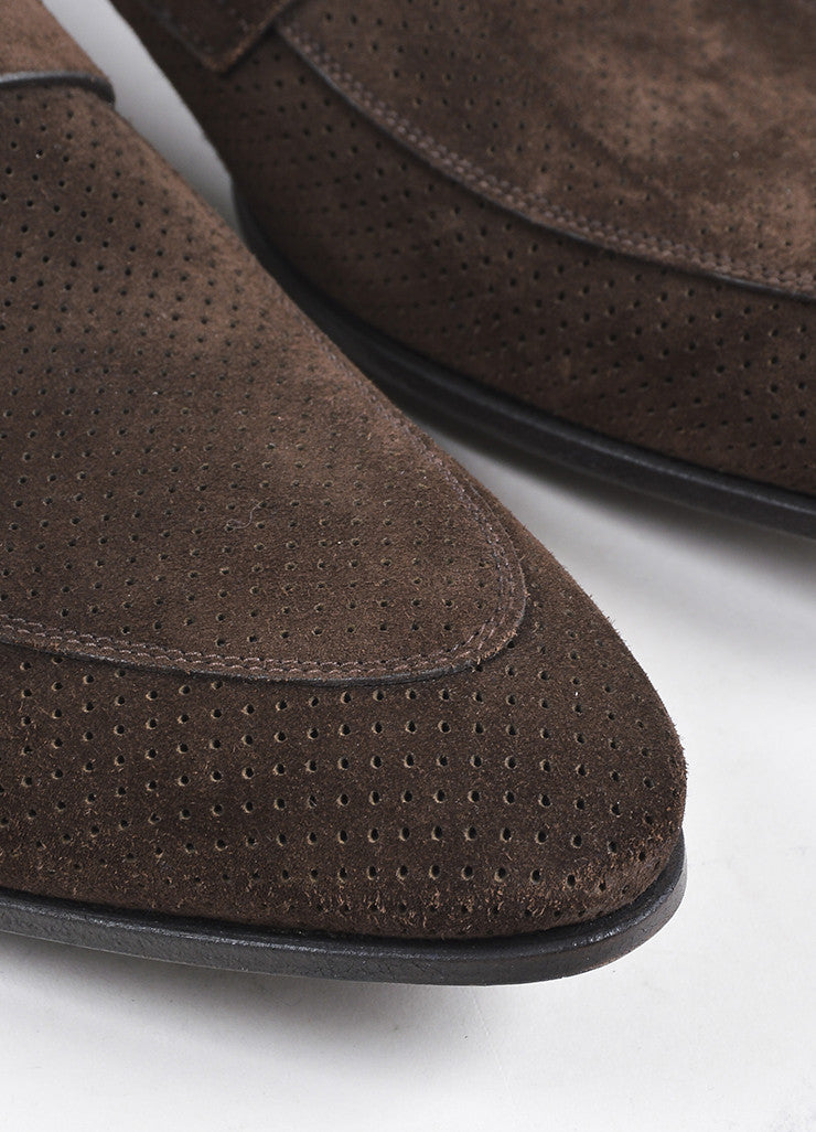 Men's Brown Prada Suede Perforated Buckle Loafers Detail