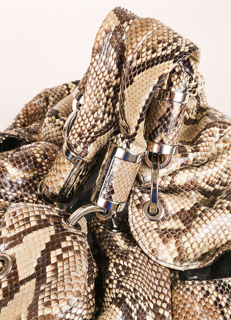 "Michael Kors Brown and Taupe Python ""Tonne"" Handbag Detail 2"