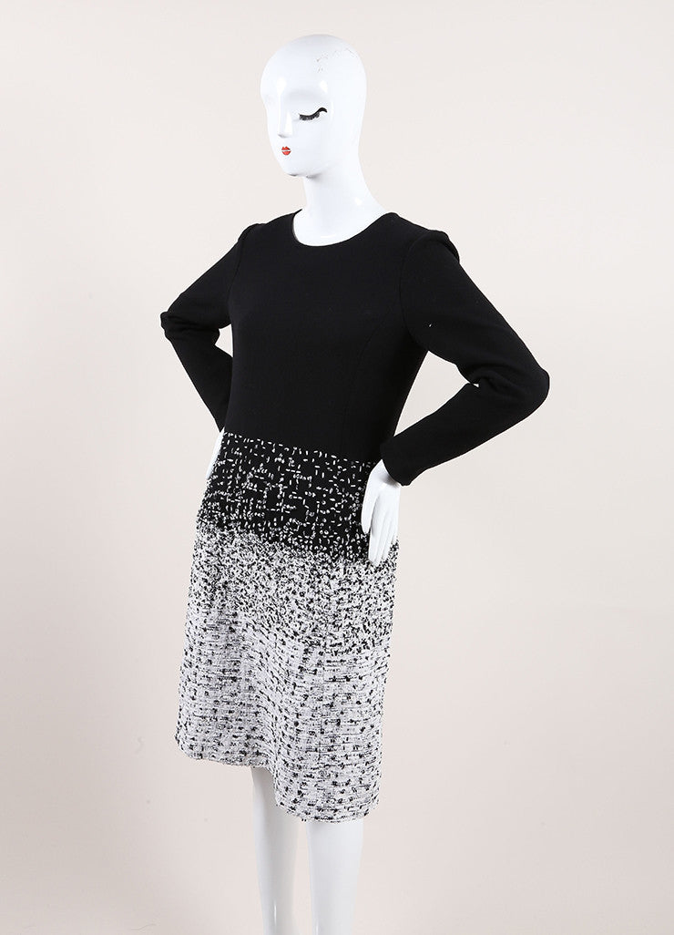 Oscar de la Renta New With Tags Black and White Wool Tweed Ombre Long Sleeve Dress Sideview