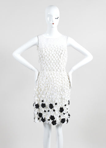 White and Black Oscar de la Renta Floral Applique Sleeveless Tulle Dress Frontview