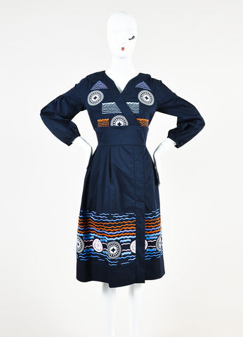 "Peter Pilotto Navy and Orange Embroidered ""Alethia"" Dress Frontview"