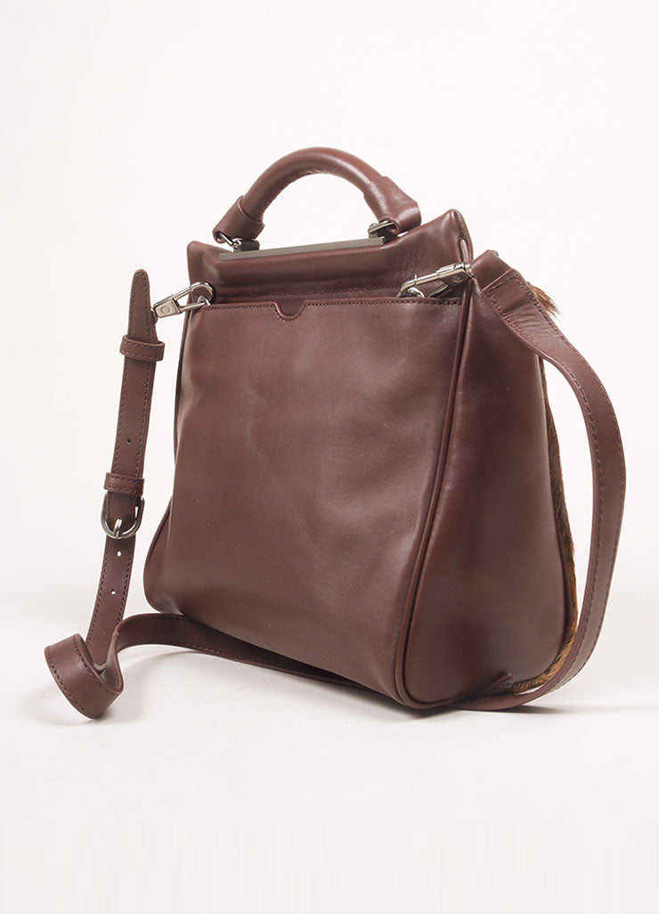 "3.1 Phillip Lim Brown Leather and Springbok Antelope Fur Small ""Ryder"" Satchel Bag Backview"