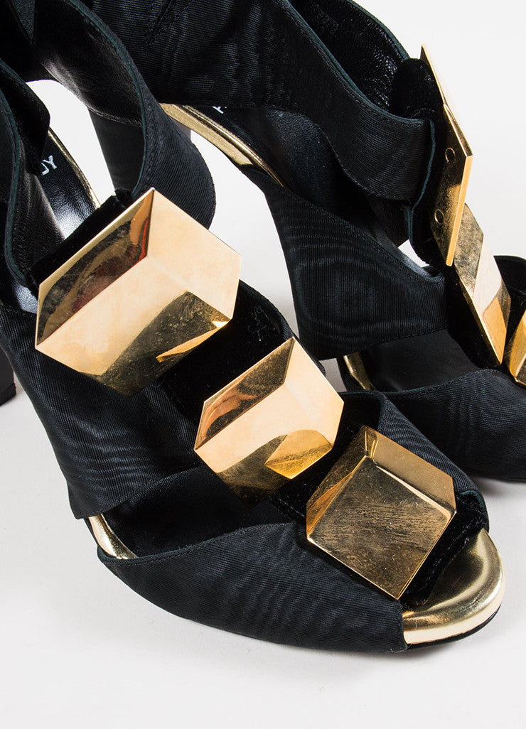 Pierre Hardy Black Velvet Cube Embellished Sandals Detail