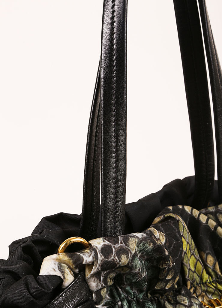 Prada Black and Green Nylon and Leather Trim Snakeskin Print Bow Shoulder Bag Detail 2