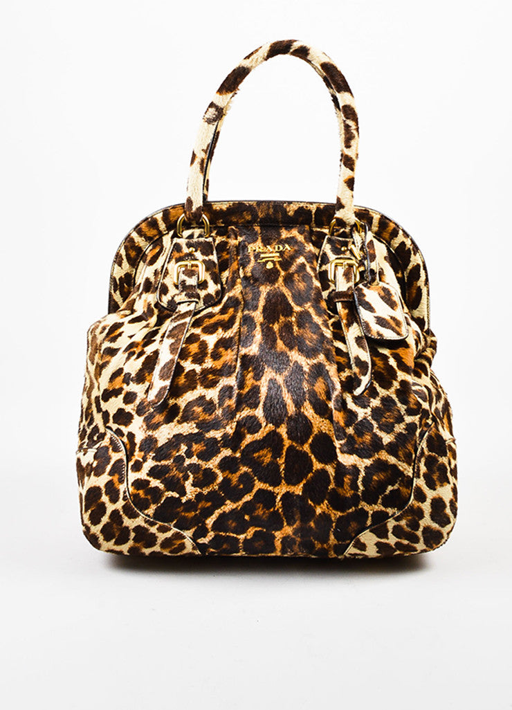 Prada Brown, Tan, and Cream Pony Hair and Leather Leopard Print Cavallino Frame Tote Bag Frontview