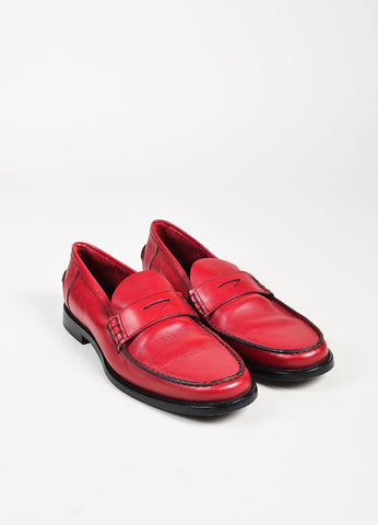 Prada Red and Black Leather Loafers Frontview