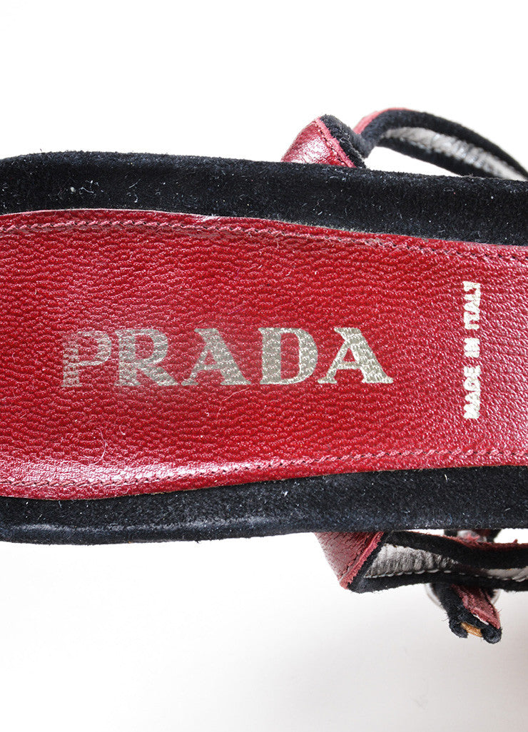 Prada Silver Leather Peep Toe Ankle Strap Sandals Brand