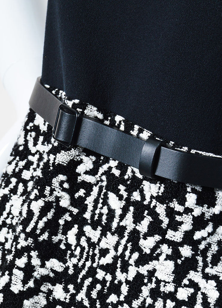 Black and White Proenza Schouler Crepe Boucle Belted Short Sleeve Dress Detail