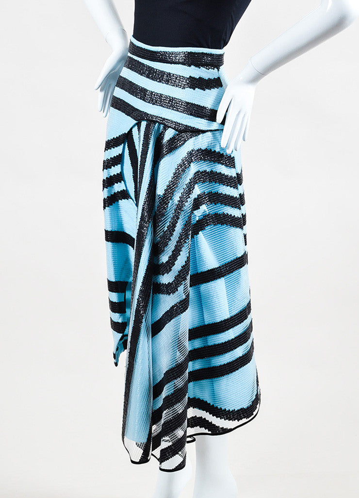 Roksanda Sky Blue and Black Textured PVC Stripe Angled Hem Skirt Sideview