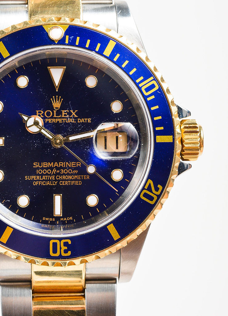 "Men's Rolex Stainless Steel 18k Yellow Gold ""Submariner"" Oyster Perpetual Watch Detail"