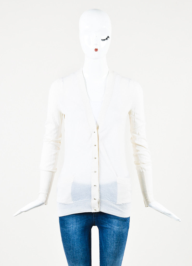Tom Ford Cream Peg Buttoned V-Neck Lightweight Cardigan Sweater Frontview