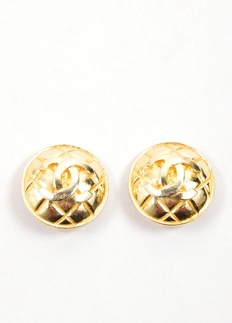 "Chanel Gold Toned Quilted ""CC"" Circle Earrings Frontview"