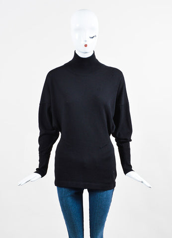 Black Alaia Wool Knit Dolman Sleeve Seamed Mock Neck Sweater Frontview