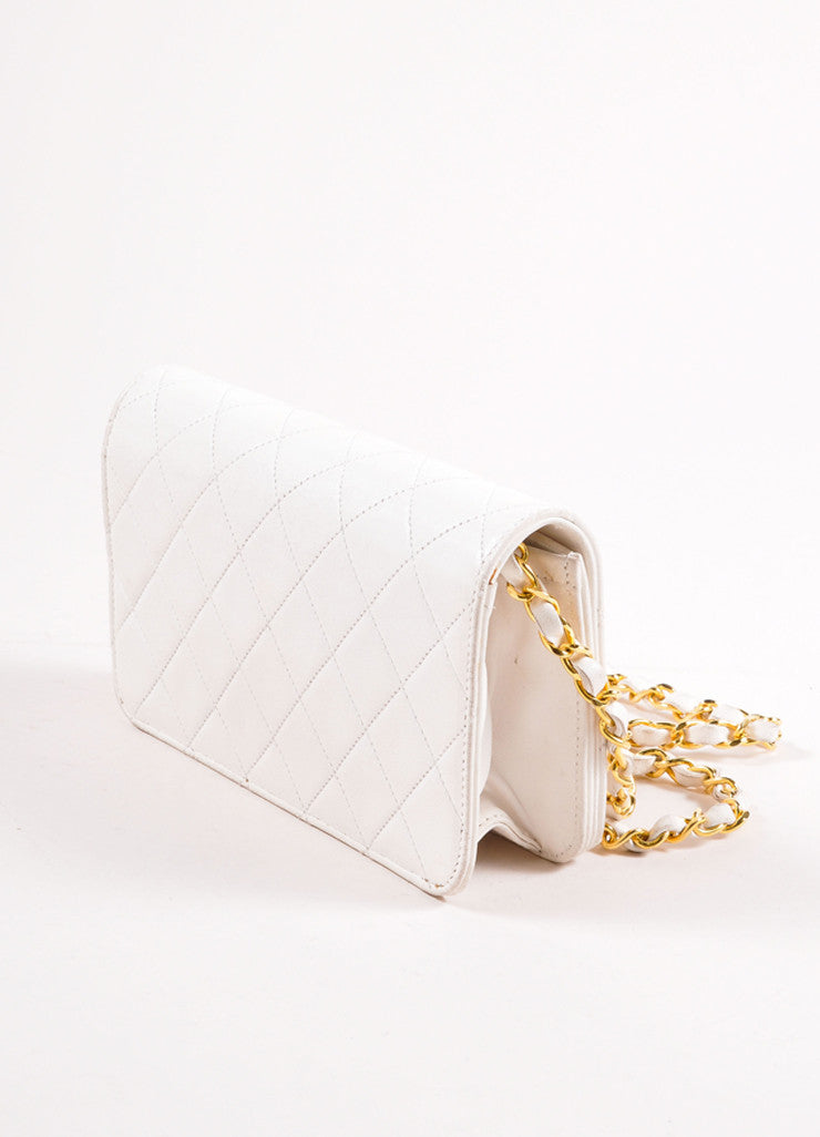 "Chanel Cream Leather Quilted ""CC"" Chain Strap Shoulder Bag Sideview"