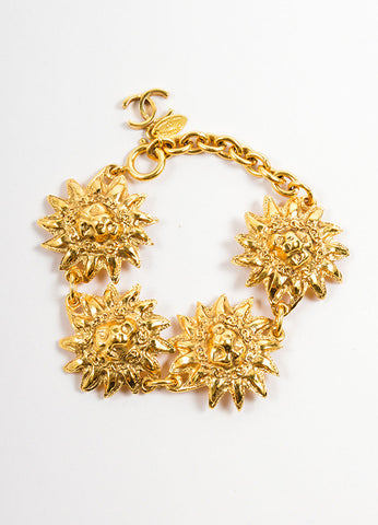 "Chanel Gold Toned Metal Lion Head Sunburst ""CC"" Charm Link Bracelet Frontview"