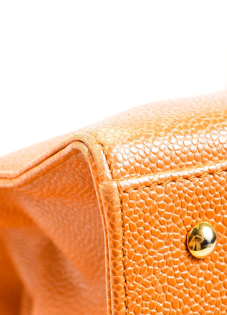 "Cognac and Orange Chanel Large ""CC"" Caviar Square Tote Bag Detail"