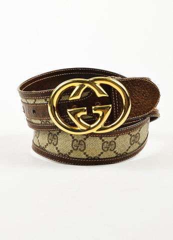 Gucci Beige and Brown Coated Canvas and Leather Monogram Gold Toned 'GG' Belt Frontview