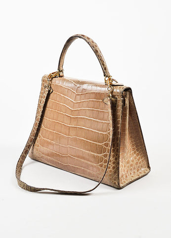 "Hermes Taupe Crocodile Leather Gold Hardware ""Kelly 28"" Handbag Sideview"