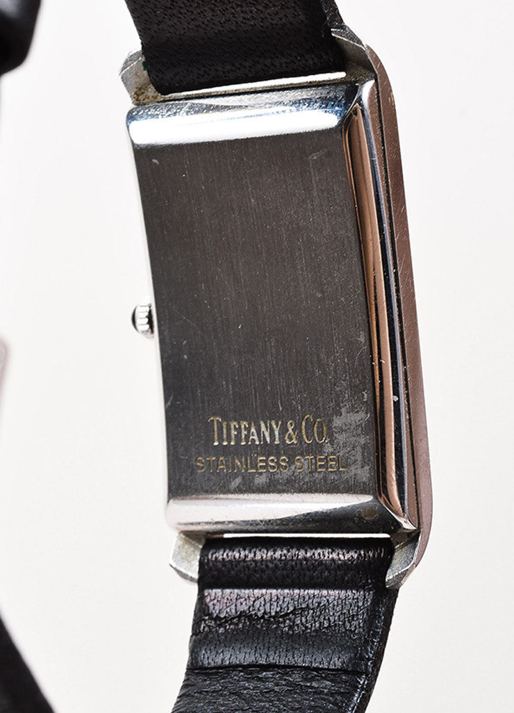 Tiffany & Co. Black Leather Quartz & Stainless Steel Rectangular Watch Detail 2