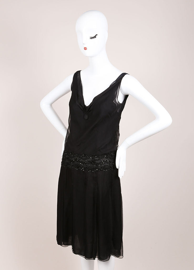 Valentino Black Silk Sequin Embellished Sleeveless Dress Sideview