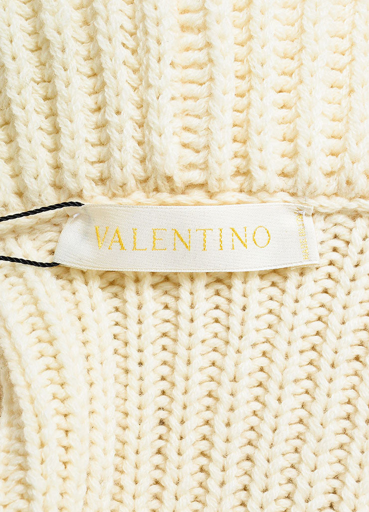 Valentino Cream Cashmere and Wool Knit Puff Sleeve Shrug Sweater Brand