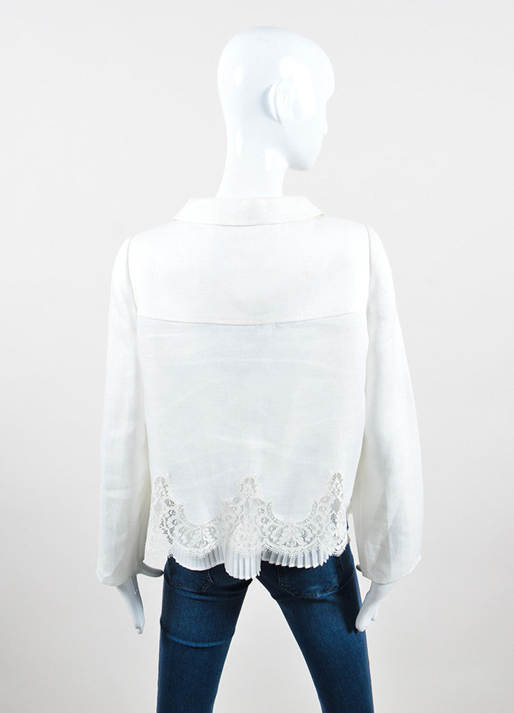White Valentino Lace Trim Scalloped Cropped Button Jacket Backview