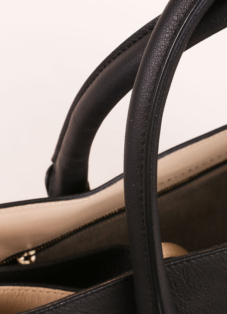 "Victoria Beckham Black Matte Grained Leather ""Liberty"" Tote Bag Detail 2"