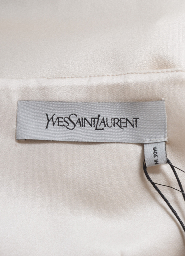 Yves Saint Laurent New With Tags Cream Silk Satin Corset Strapless Dress Brand