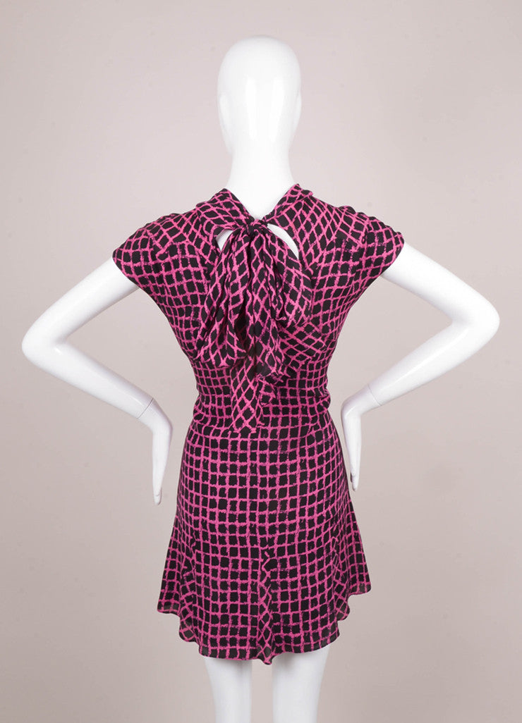 Pink and Black Patterned Sleeveless Silk Dress
