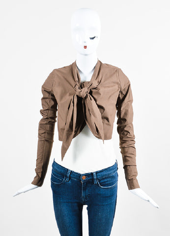 """Bronze"" Brown Rick Owens Cotton Draped Cropped Tie Jacket Frontview"