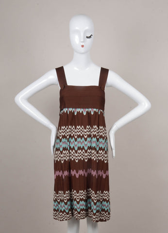 Brown, White, and Teal Sleeveless Knit Dress