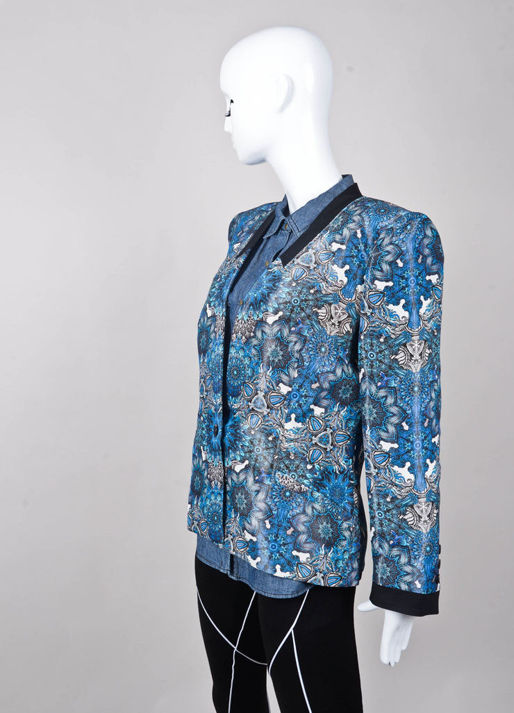 New With Tags Blue, Black, and White Printed Jacket