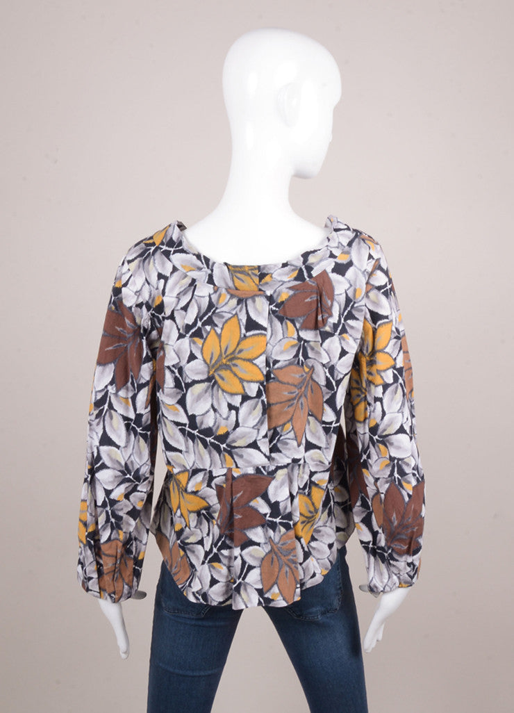 Brown and Grey Floral Print Long Sleeve Cotton Blouse