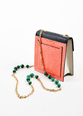 "Coral, Black, and Green Andrew Gn ""Chryscolla"" Python Leather Bag Sideview"