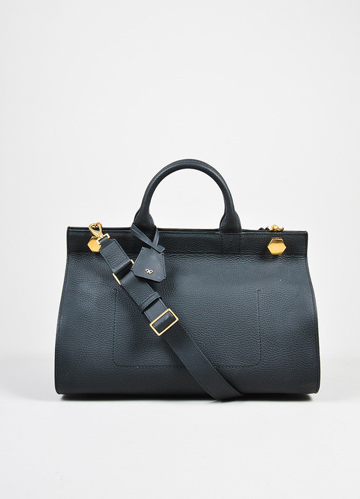 "Black Leather  Anya Hindmarch ""Ephson"" Top Handle Satchel Bag Frontview"