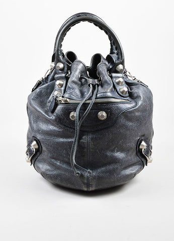 "Balenciaga Grey Distressed Leather ""Giant 21 PomPon"" Bucket Bag Frontview"
