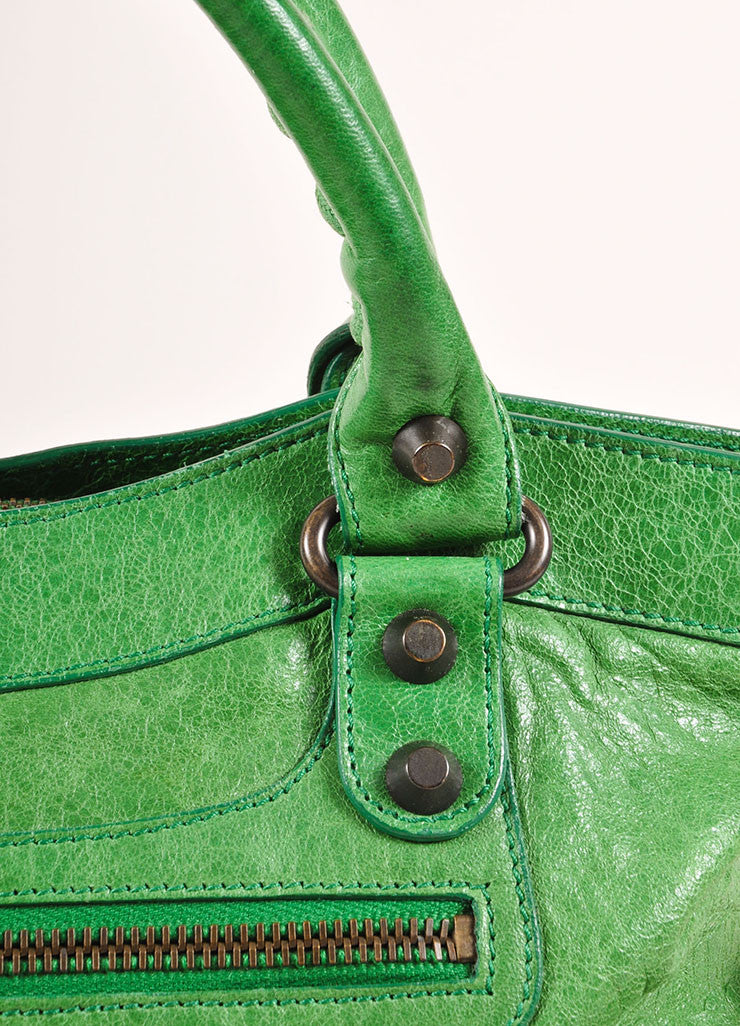 "Green Crinkle Leather Classic ""First"" Two Way Moto Shoulder Bag"