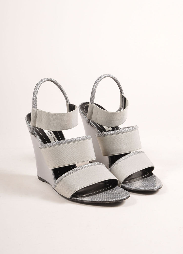 Balenciaga New In Box Grey Elastic Snakeskin Leather Trim Wedge Sandals Frontview