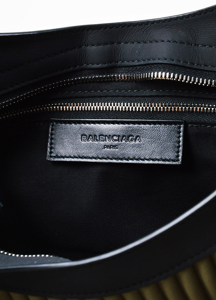 "Balenciaga Black and Olive Green Neoprene Leather ""Classic City"" Bag Brand"