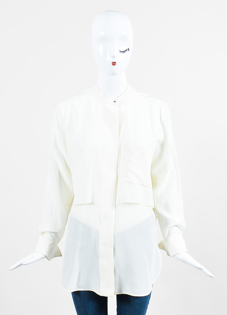 "White Belstaff Silk Crepe Layered Buttoned Long Sleeve ""Lissa"" Blouse Frontview"