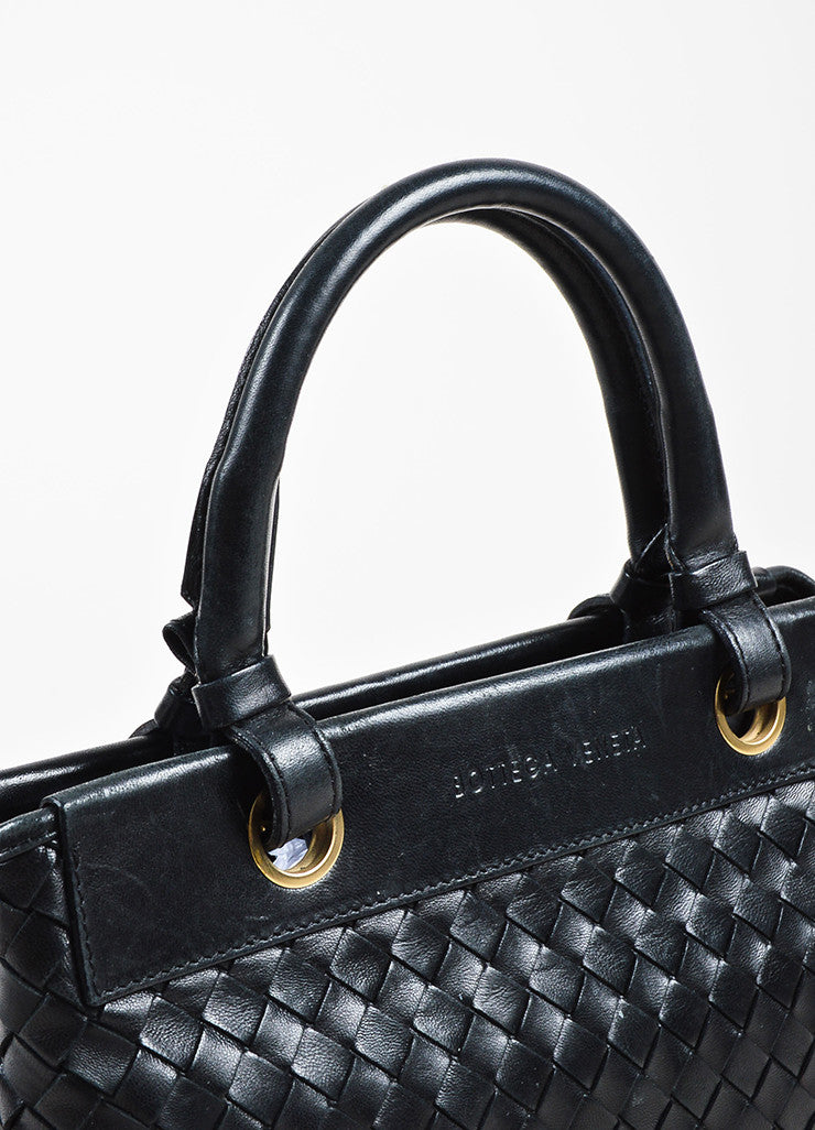 Bottega Veneta Black Leather Intrecciato Woven Handbag Detail 2