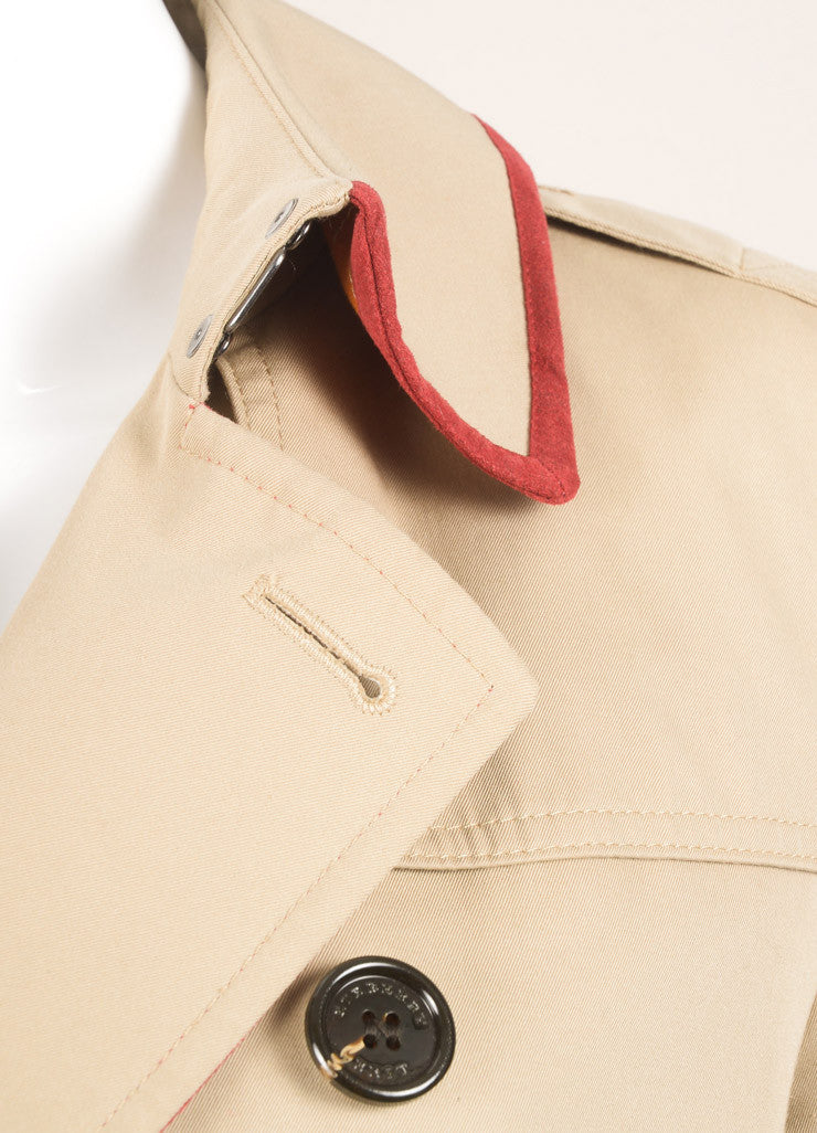 Burberry Brit Tan Belted Trench Coat Detail