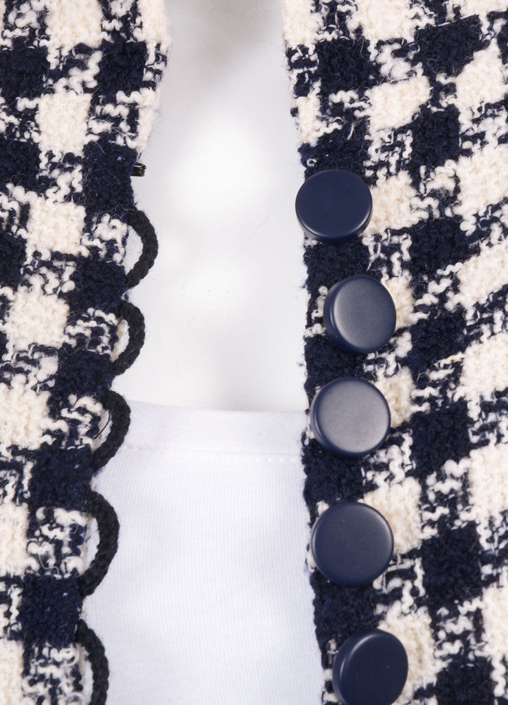Chanel Navy and Cream Woven Check Button Up Jacket Detail