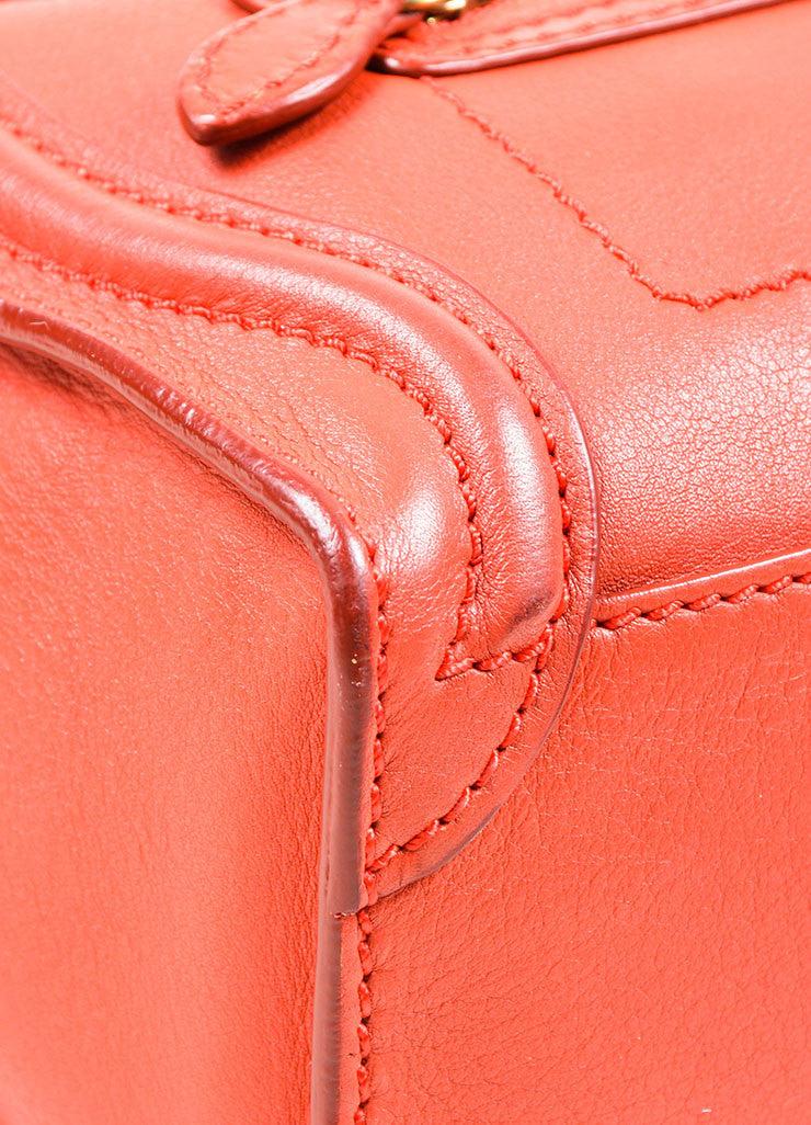 """Lipstick"" Red Celine Leather ""Nano Shopper"" Crossbody Tote Bag Detail"
