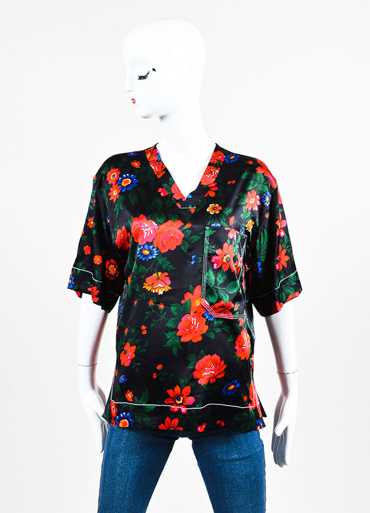 Black, Red, and Blue Celine Floral Print Silk Short Sleeve Pajama Top Frontview