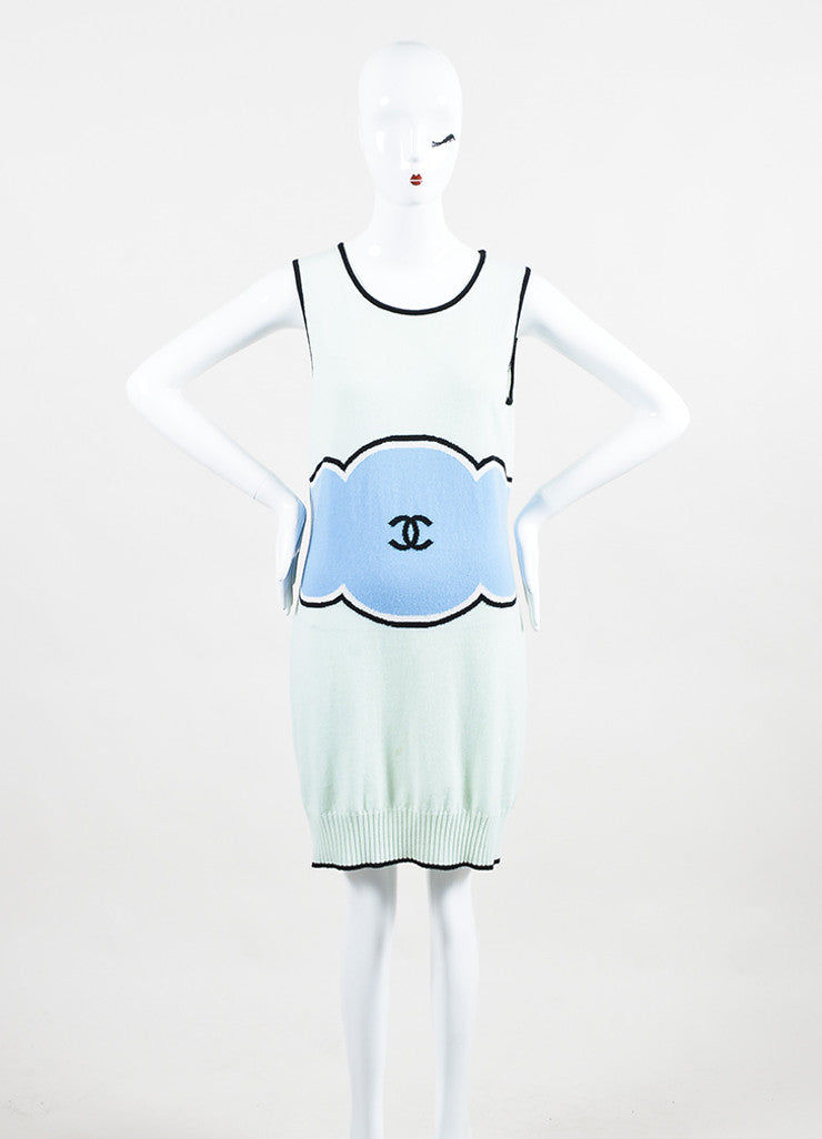 Chanel Mint Green, Light Blue, and Black Cashmere 'CC' Sleeveless Sweater Dress Frontview
