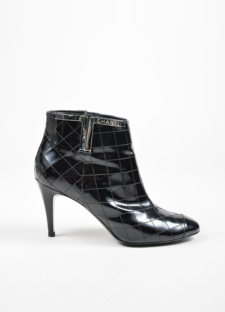 Black Chanel Patent Leather Quilted Cap Toe Ankle Booties Sideview