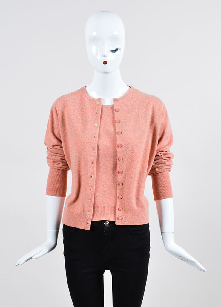 Salmon Pink Chanel Cashmere Sweater and Top Twin Set  Frontview