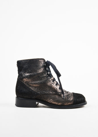 å´?ÌÜChanel Black and Gunmetal Metallic Pony Hair Distressed Lace Up Boots Sideview