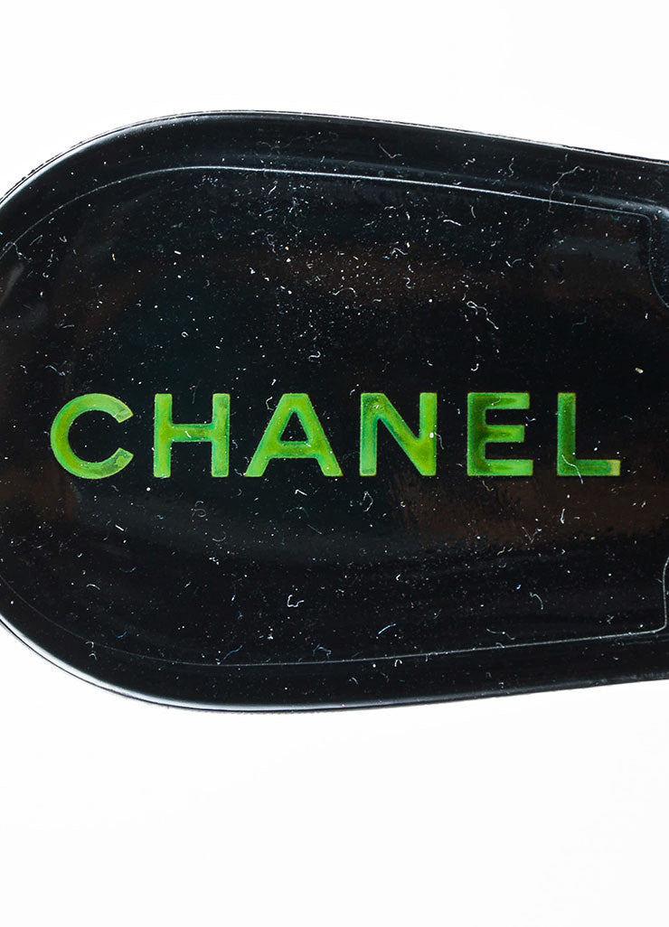 Chanel Black Rubber Camellia Flower Jelly Thong Flat Sandals Brand